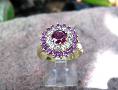 9ct Yellow Gold Dress Ring With Rhodolite Garnets And White Sapphires